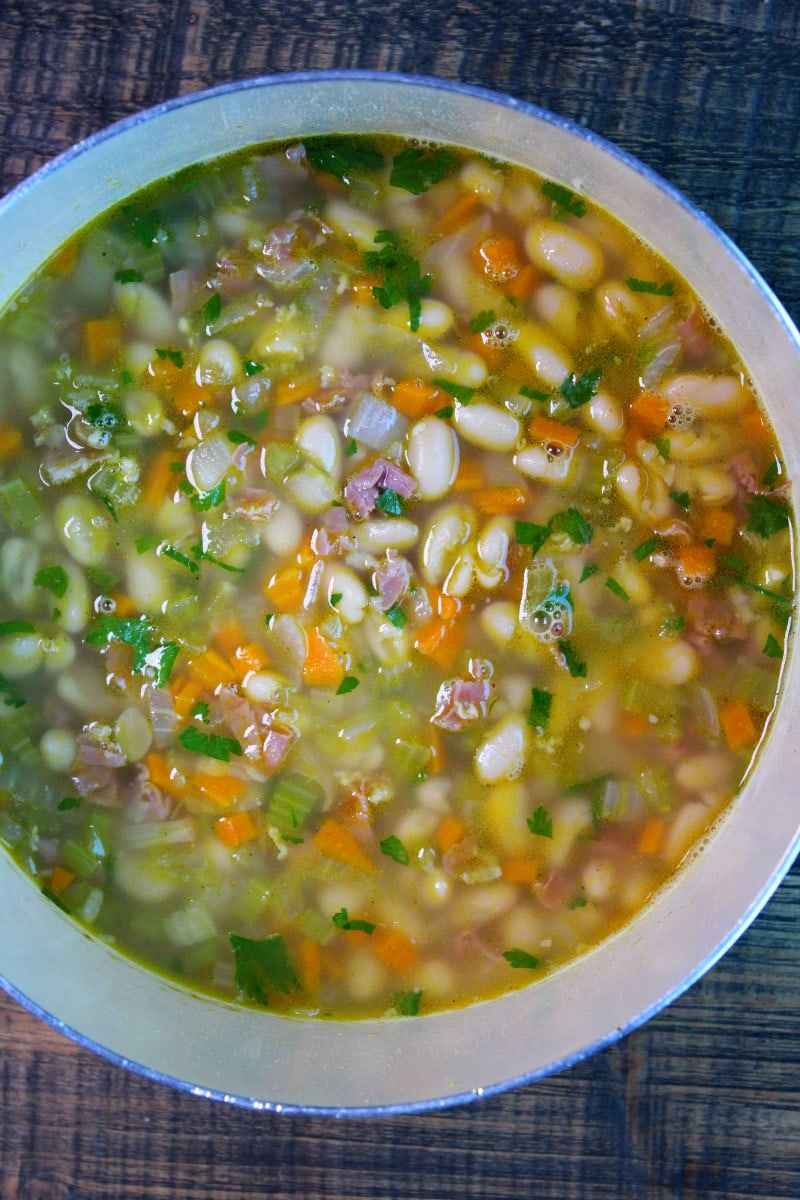 Pot of Tuscan White Bean Soup with Prosciutto