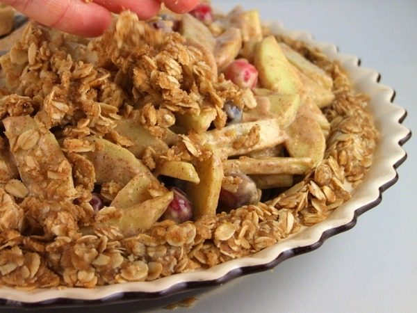 Apple Cranberry Pie with Oatmeal Cookie Crust