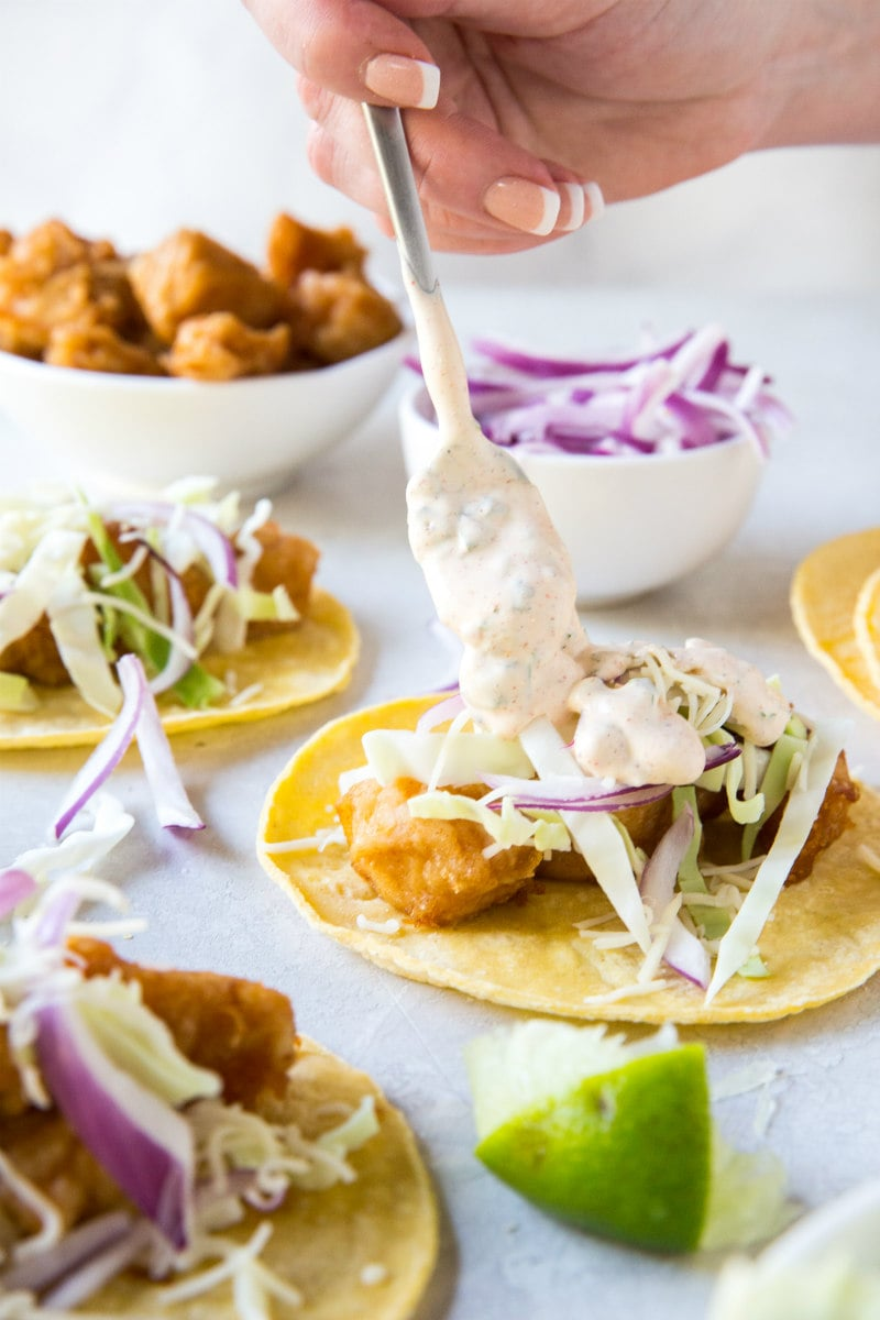 Adding Baja Sauce to Beer Battered Fish Tacos