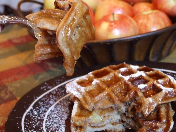Taking a bite of Spiced Apple Waffles