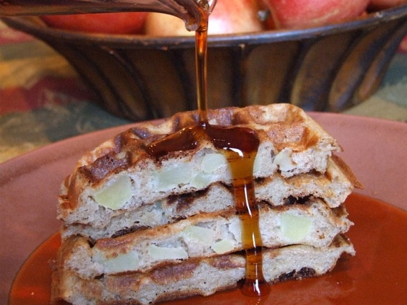 Syrup over Spiced Apple Waffles
