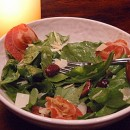 Arugula Salad with olives, Pancetta and Parmesan Shavings