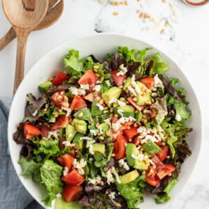 avocado pine nut salad in a bowl