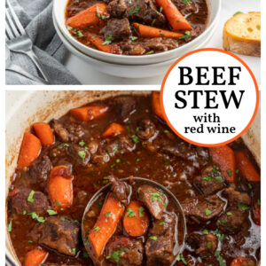 pinterest collage image for beef stew with red wine