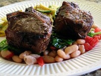 Broiled Lamb Chops with White Beans and Spinach