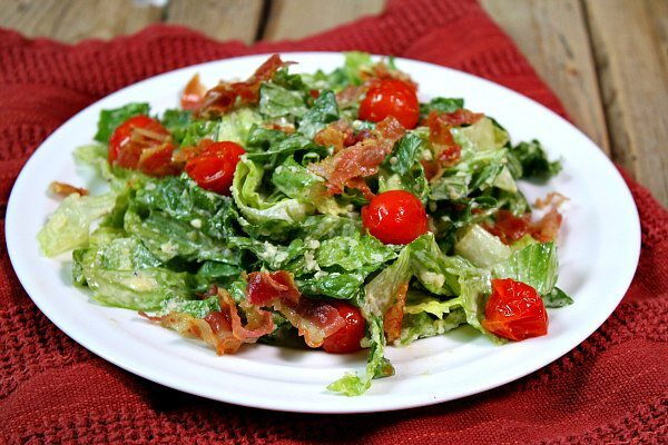 Caesar Salad with Pancetta and Roasted Tomatoes - recipe from RecipeGirl.com