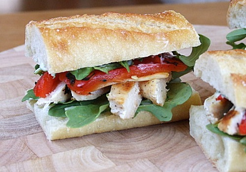 Chicken and Arugula Sandwiches recipe from RecipeGirl.com