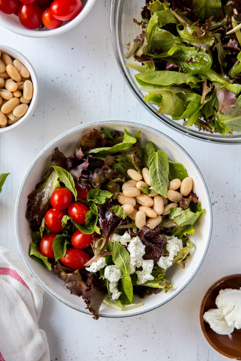 Five Minute Salad with Goat Cheese, Basil and White Beans