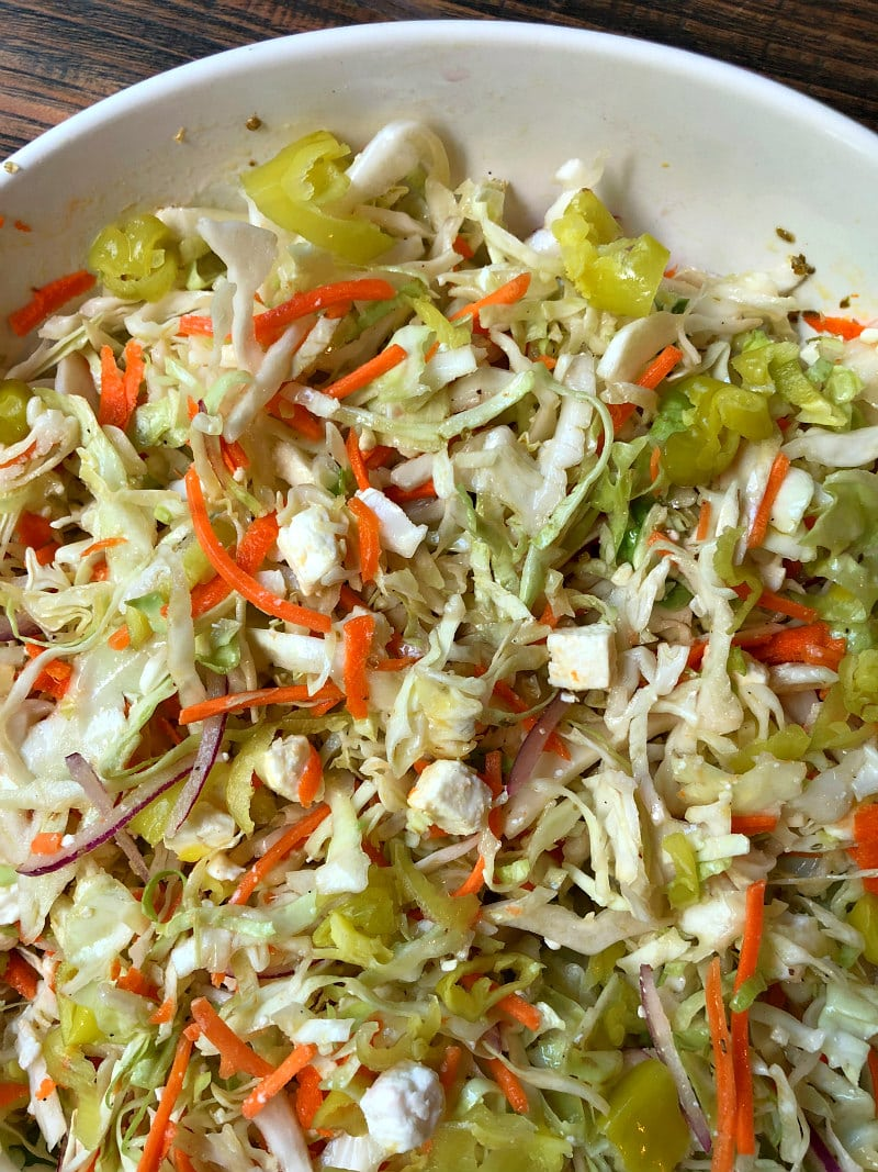 Bowl of Greek Style Cole Slaw