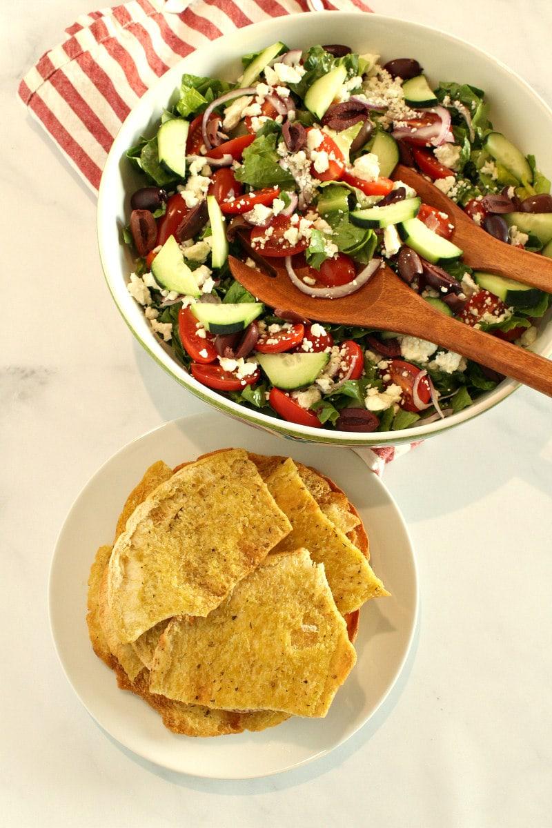 bowl of Greek Salad with Flatbread