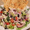 Greek Salad with Seasoned Flatbread