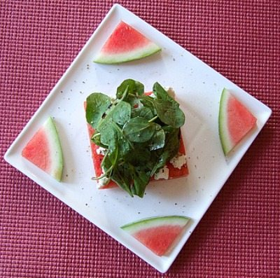 watermelon salad on a plate
