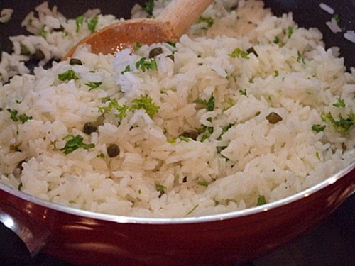 Lemon Rice with Capers and Parsley recipe from RecipeGirl.com