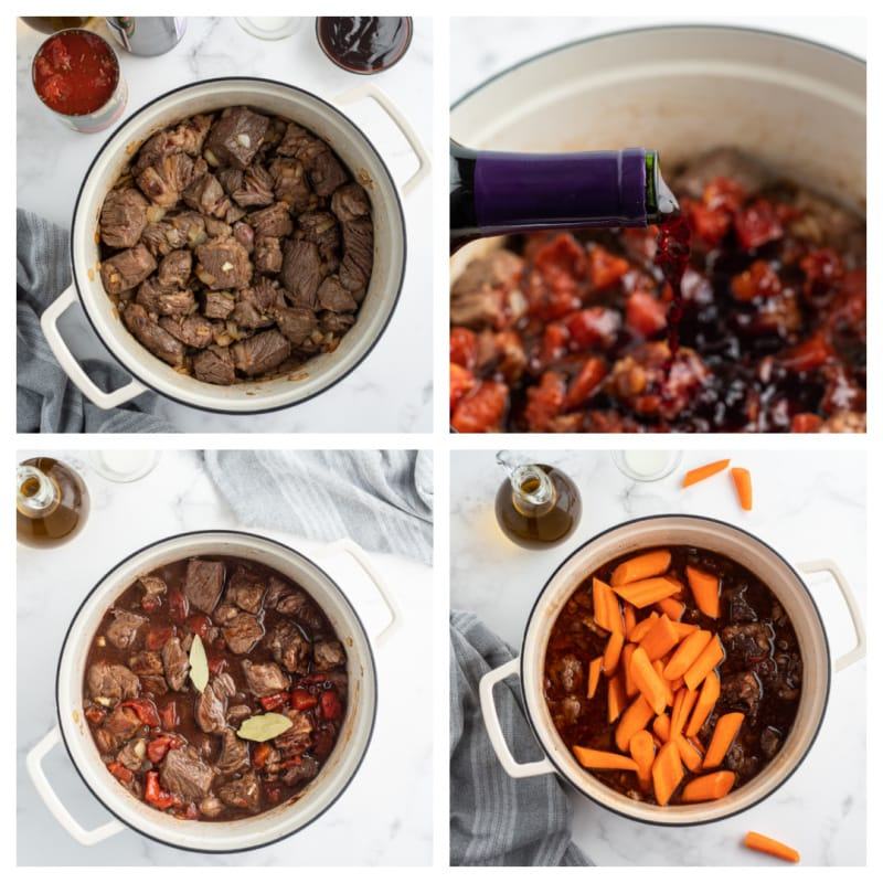 four photos showing process of cooking beef stew