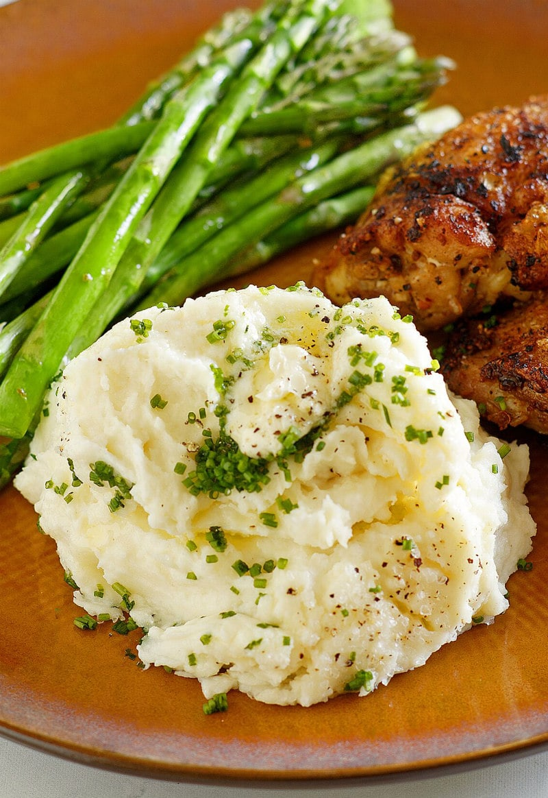 Make Ahead Mashed Potatoes served with dinner