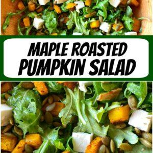 pinterest collage image for maple roasted pumpkin salad