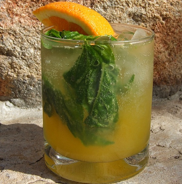 orange basil mojitos