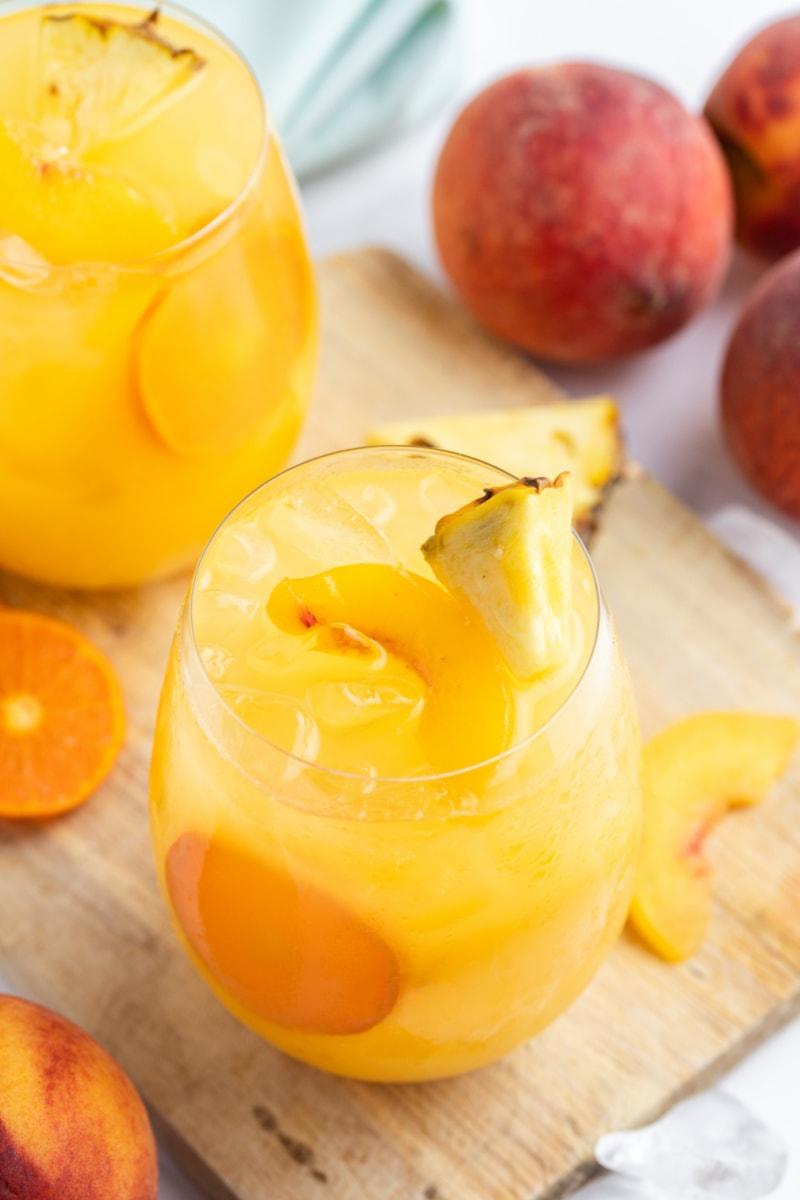 peach sangria in a glass