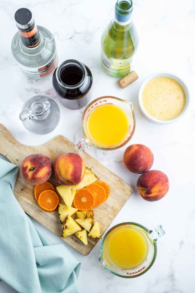 ingredients for peach sangria