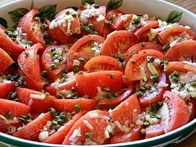 Tomato Salad With Shallot Vinaigrette, Capers, And Basil Recipes ...