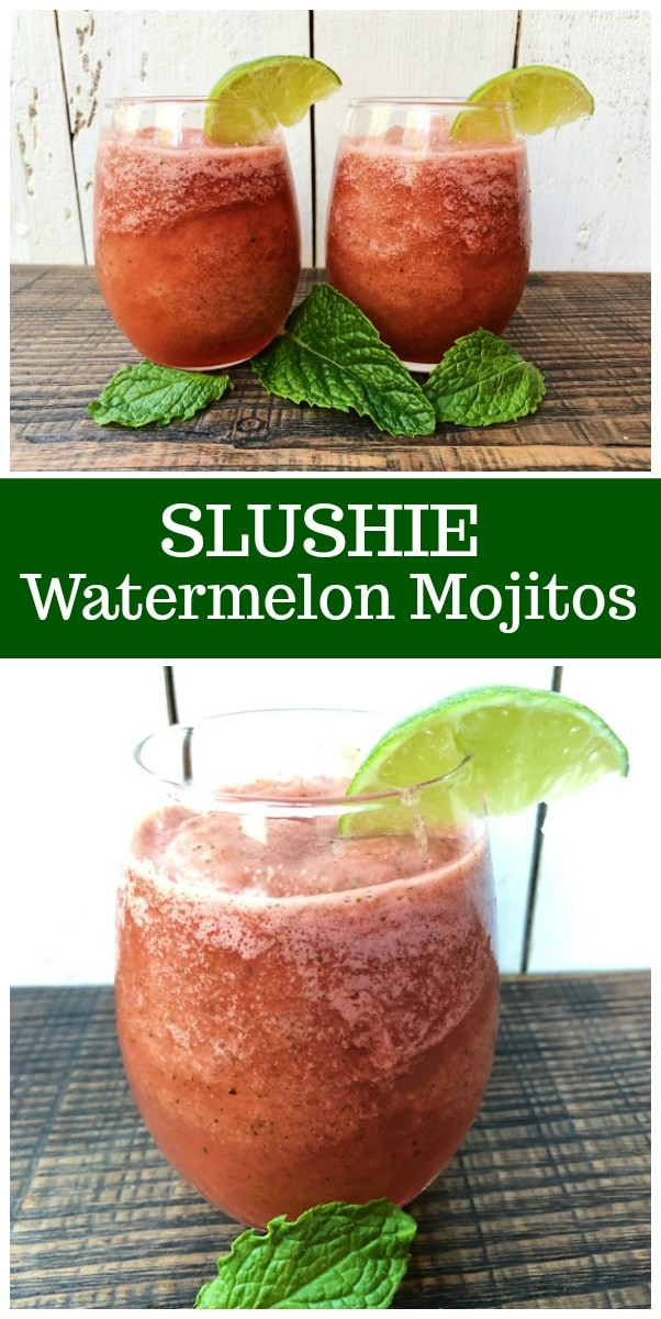 pinterest collage image for slushie watermelon mojitos