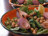 Spinach & Arugula Salad with Indian Spiced Chickpeas