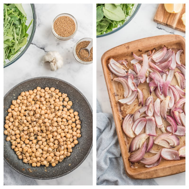 spicy chickpeas in a pan and roasted onions in a baking sheet
