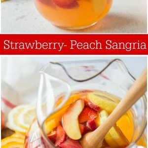 pinterest collage image for strawberry peach sangria