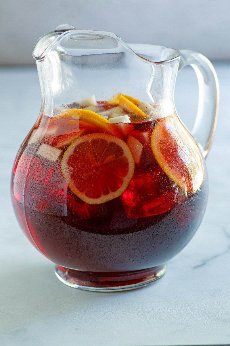 pitcher of winter spiced red wine sangria