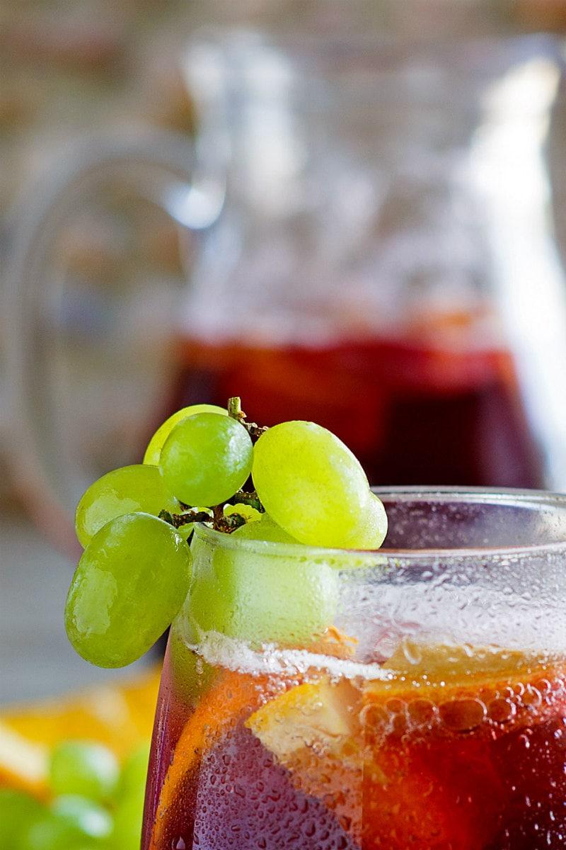 Green grapes garnish Grape Sangria