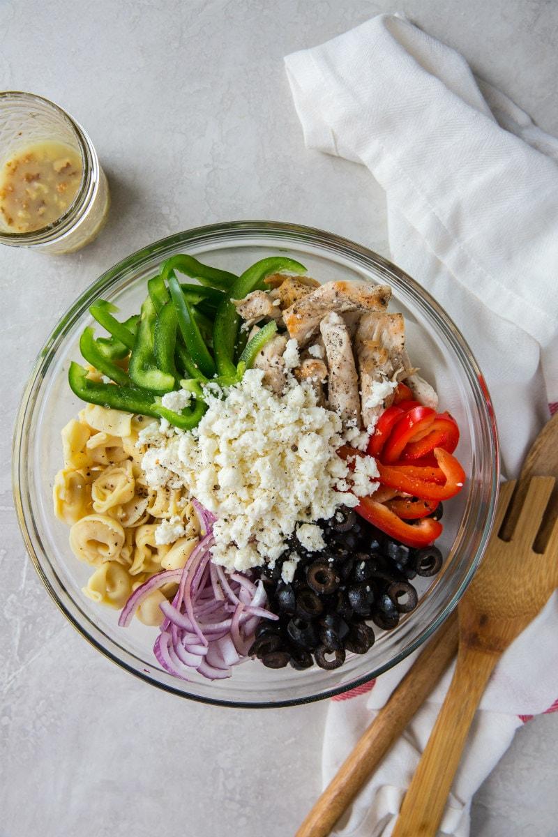 Ingredients for Greek Tortellini Salad