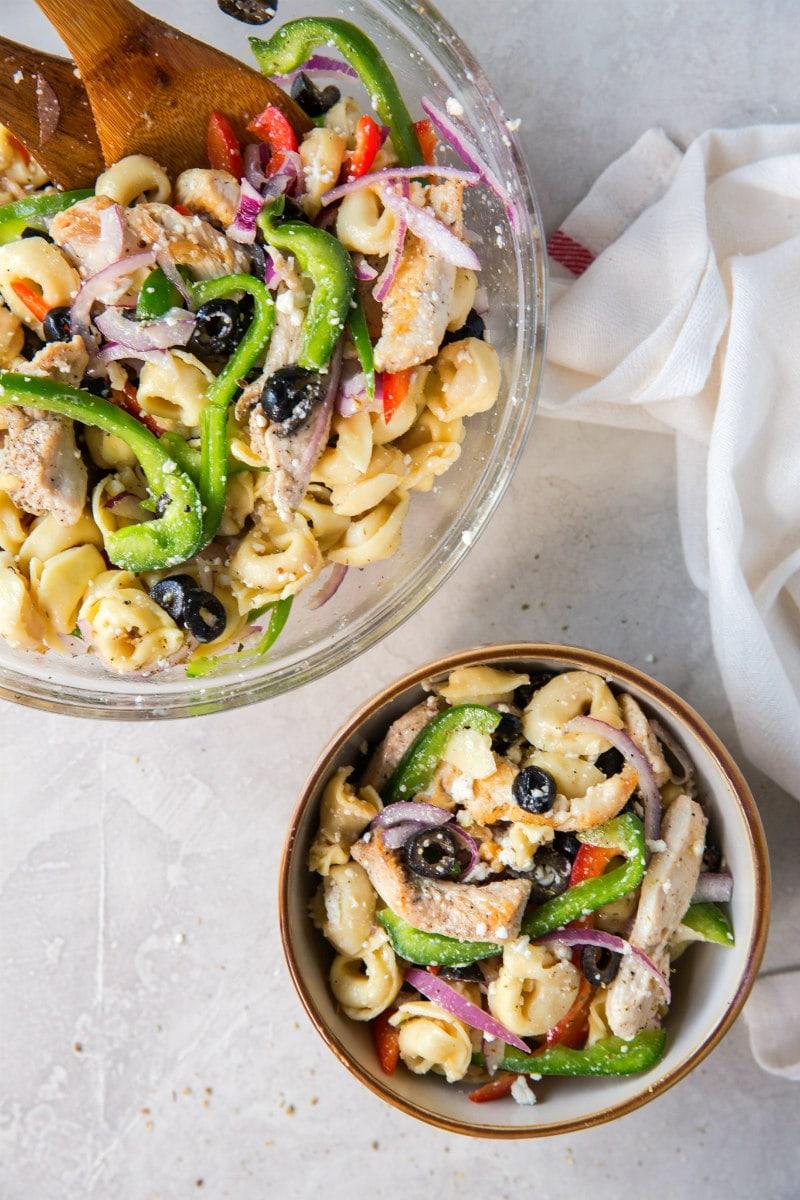 serving of Greek Tortellini Salad