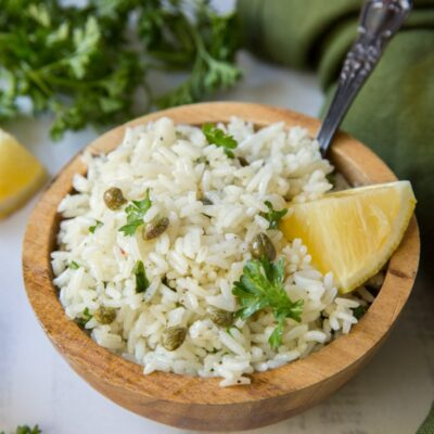 bowl of lemon rice