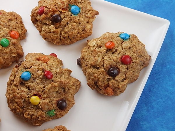 Agave and Honey Oatmeal M&M Cookies recipe from RecipeGirl.com