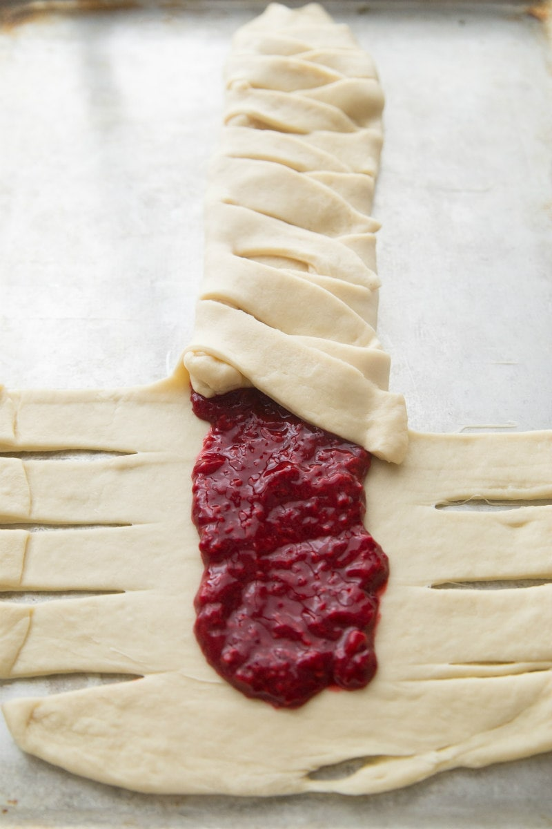 forming a candy cane coffee cake