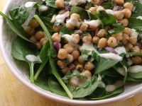 Chickpea and Spinach Salad with Cumin Dressing