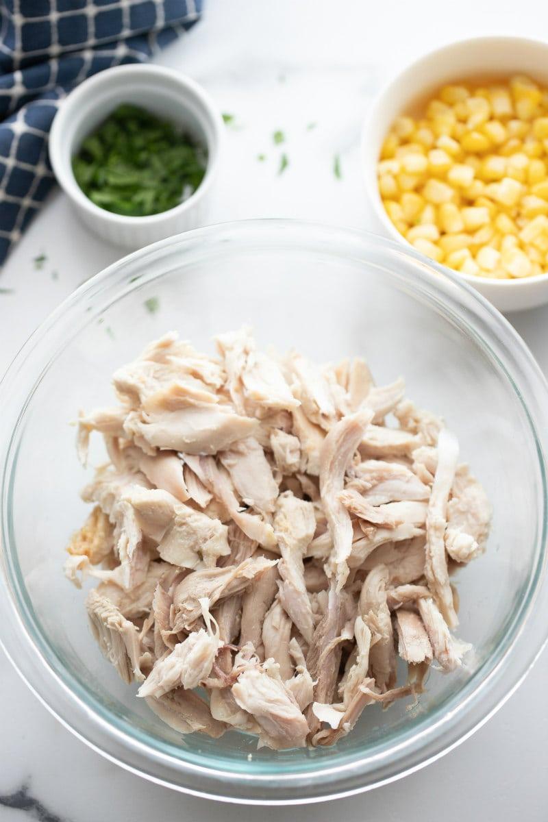 bowl of shredded turkey