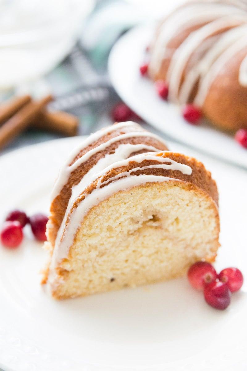 slice of Eggnog Coffee Cake