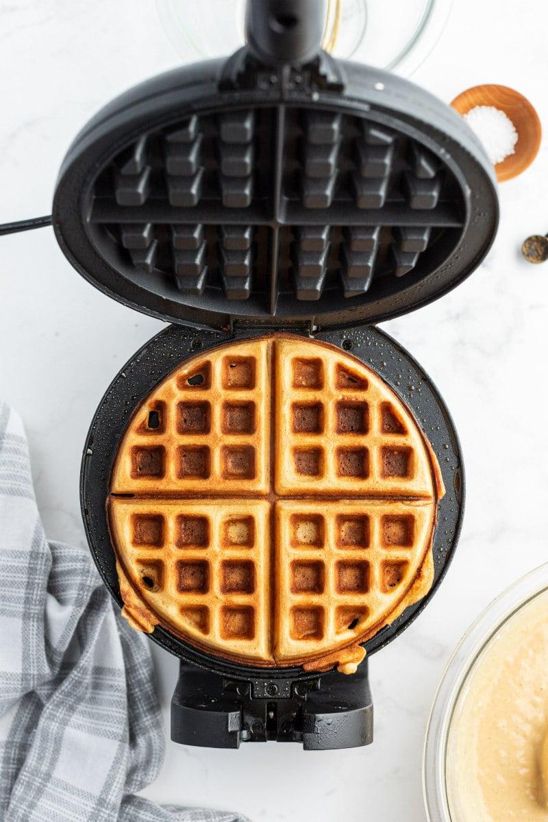gingerbread waffle in waffle iron