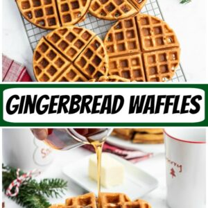 pinterest collage image for gingerbread waffles