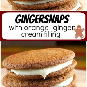 pinterest collage image for gingersnaps with orange ginger cream filling