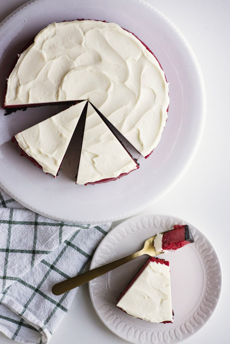 Red Velvet Cheesecake cut into slices