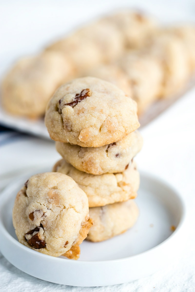stacked Butter Brickle and Pecan Cookies