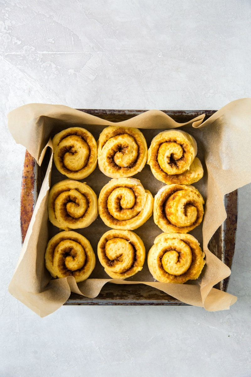 Amish Pumpkin Cinnamon Rolls ready for rising