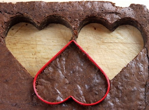 Cutting Brownies into Hearts with a cutter