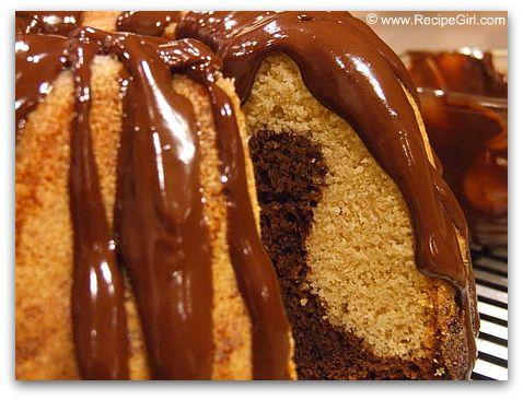 Black and White Pound Cake with Chocolate Ganache