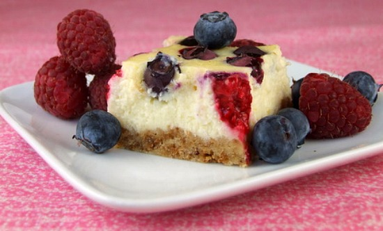 Red, White and Blue Cheesecake Bars