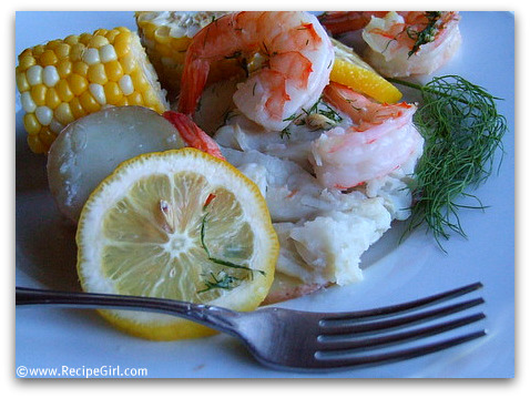 "New England Dinner: Grilled Seafood ""Bake"""