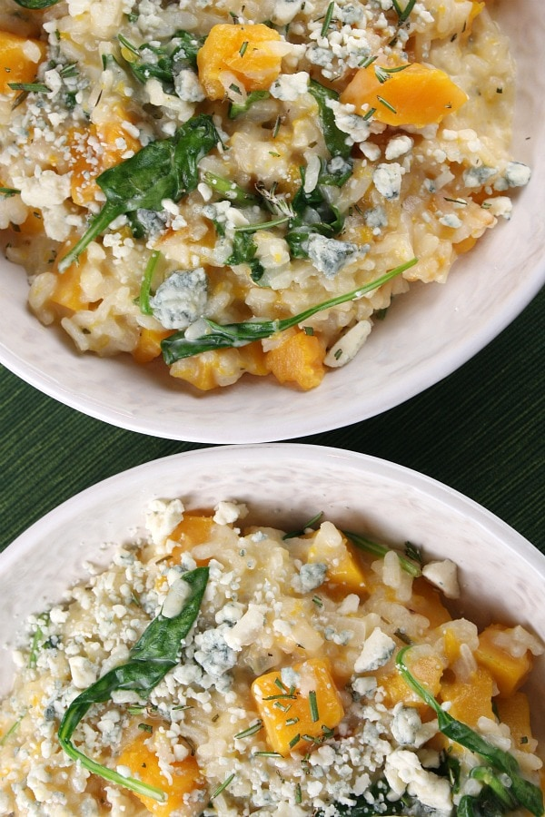 Two bowls of Butternut Squash Risotto with Rosemary and Blue Cheese