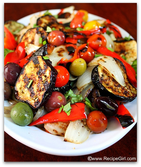 This recipe can be found here: Grilled Vegetable Salad
